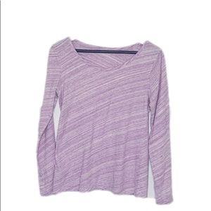 LOFT purple Long Sleeve Open Neck Tee Sz XS